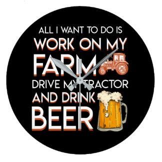 Beer Farmer Want Work Farm Drive Tractor Large Clock