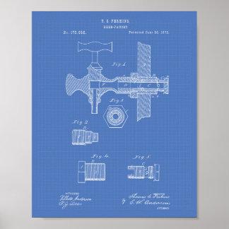 Beer Faucet 1876 Patent Art Blueprint Poster