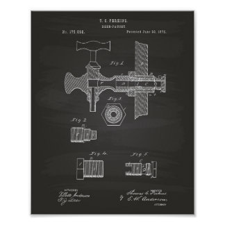 Beer Faucet 1876 Patent Art Chalkboard Poster
