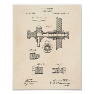 Beer Faucet 1876 Patent Art Old Peper Poster