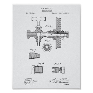 Beer Faucet 1876 Patent Art White Paper Poster