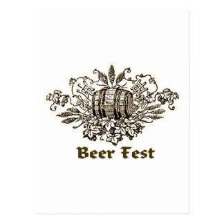 BEER FEST VINTAGE ALE KEG PRINT POSTCARD