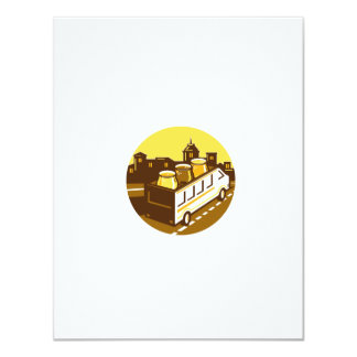 Beer Flight Glass On Van Cityscape Circle Retro Card