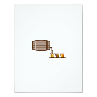 Beer Flight Keg Pouring on Glass Retro Card