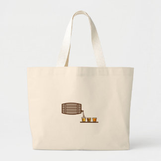 Beer Flight Keg Pouring on Glass Retro Large Tote Bag