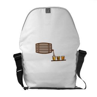 Beer Flight Keg Pouring on Glass Retro Messenger Bag