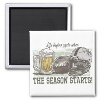 Beer & Football  by Mudge Studios 2 Inch Square Magnet