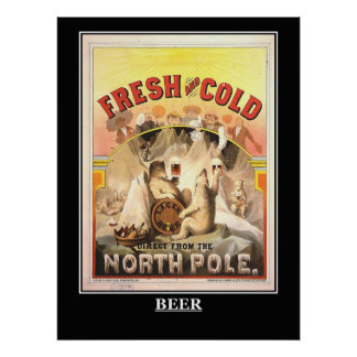 Beer Fresh and Cold Vintage Poster