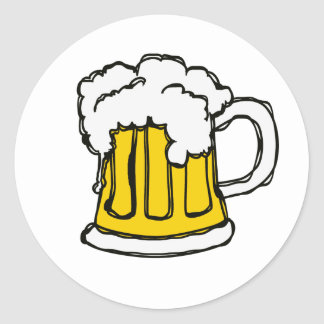 Beer! Frothy Bubbly Mug of Brew Classic Round Sticker