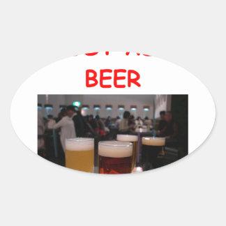 beer fun oval sticker