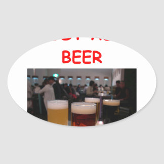 beer fun oval sticker
