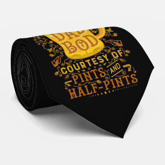 Beer Funny Fathers Dad Bod Humorous Vintage Tie