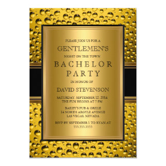 Beer Gentlemen's Bachelor Party Men's Night Out 5x7 Paper Invitation Card