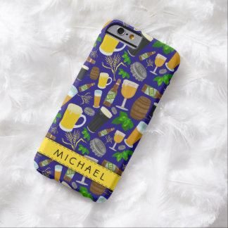 Beer Glass Bottle Hops and Barley Pattern 2 Barely There iPhone 6 Case