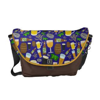 Beer Glass Bottle Hops and Barley Pattern 2 Courier Bag