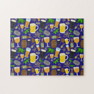 Beer Glass Bottle Hops and Barley Pattern 2 Jigsaw Puzzle