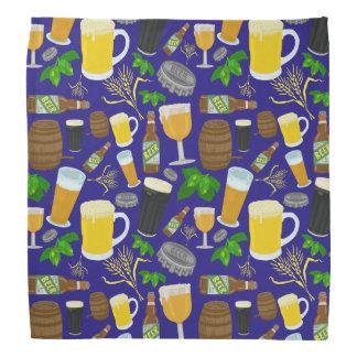 Beer Glass Bottle Hops and Barley Pattern Bandana