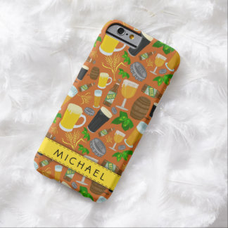 Beer Glass Bottle Hops and Barley Pattern Barely There iPhone 6 Case