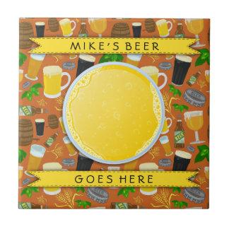 Beer Glass Bottle Hops and Barley Pattern Custom Tile