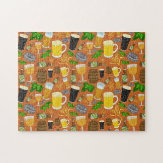 Beer Glass Bottle Hops and Barley Pattern Jigsaw Puzzle