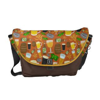 Beer Glass Bottle Hops and Barley Pattern Messenger Bag