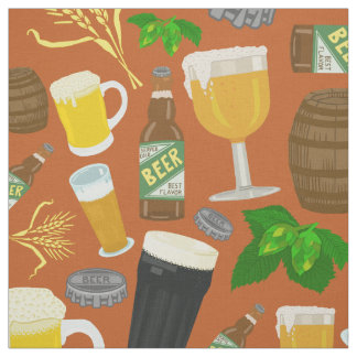 Beer Glass Bottle Hops and Barley Pattern Orange Fabric