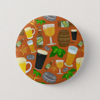 Beer Glass Bottle Hops and Barley Pattern Pinback Button