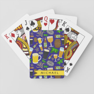 Beer Glass Bottle Hops and Barley Pattern Playing Cards