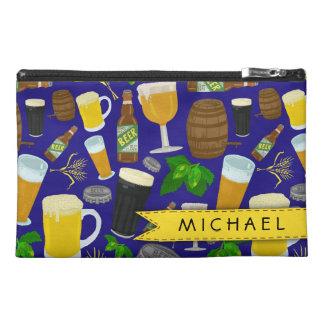 Beer Glass Bottle Hops and Barley Pattern Travel Accessory Bag