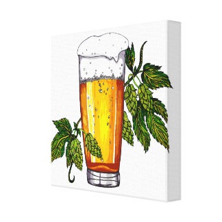 Beer Glass & Hops Canvas Print