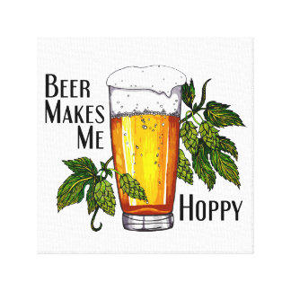 Beer Glass & Hops with Text Canvas Print