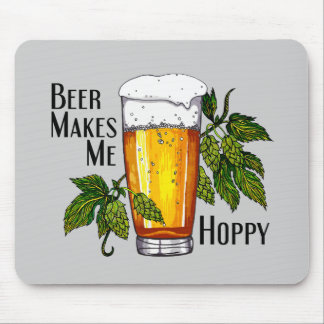 Beer Glass & Hops with Text Mouse Pad