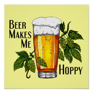 Beer Glass & Hops with Text Poster