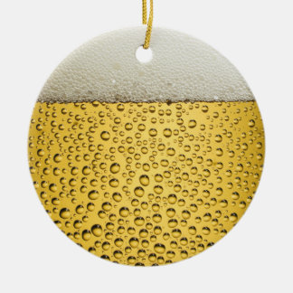 Beer Glass Double-Sided Ceramic Round Christmas Ornament