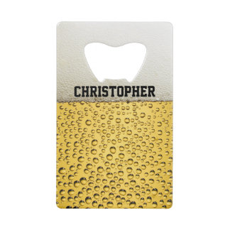 Beer Glass Personalize Credit Card Bottle Opener