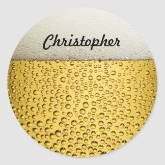 Beer Glass Personalize Photo Classic Round Sticker