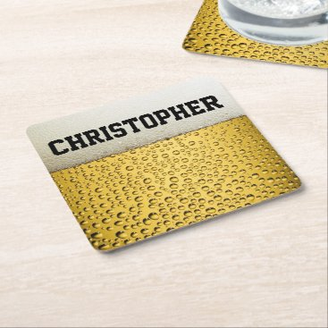 ironydesignphotos Beer Glass Personalize Square Paper Coaster