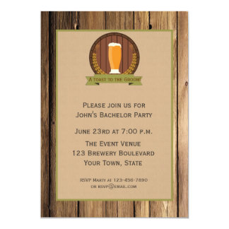 Beer Glass, Wood Look Bachelor Party Card
