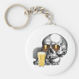 BEER GLASSES AND SKULL WITH SUNGLASSES PRINT BASIC ROUND BUTTON KEYCHAIN