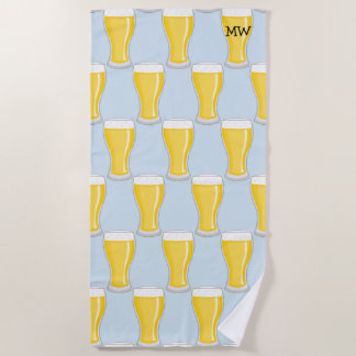 Beer Glasses - Customize with Your Initials - Male Beach Towel