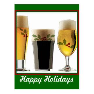 Beer Glasses Holiday Greetings Postcard