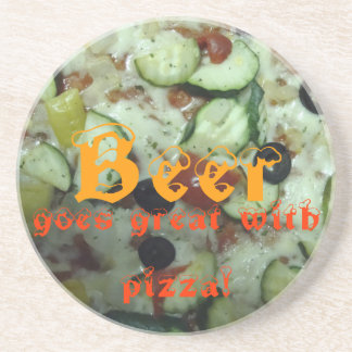 beer! goes great with pizza! drink coaster