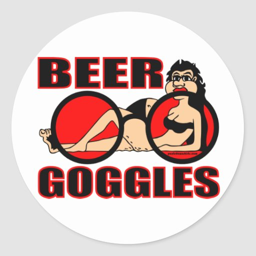 BEER GOGGLES CLASSIC ROUND STICKER