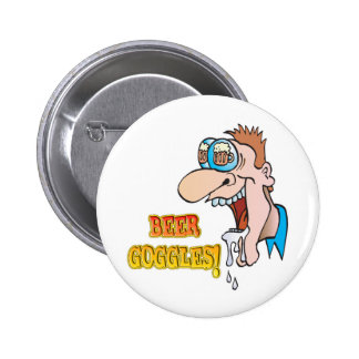 BEER GOGGLES funny drinking design Button