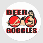BEER GOGGLES ROUND STICKERS