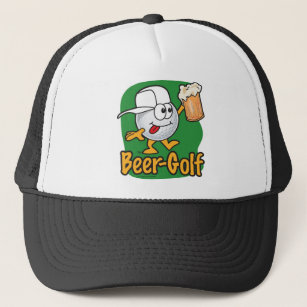 Beer Golf Drunk Cartoon Golf Ball Trucker Hat f18bf1d8bfac