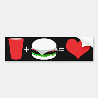 beer + hamburger = love bumper sticker