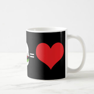 beer + hamburger = love coffee mug