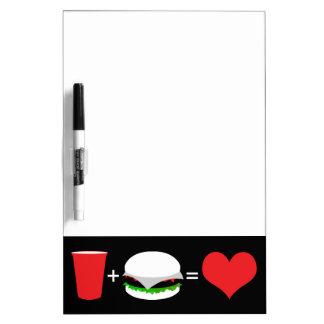 beer + hamburger = love dry erase board