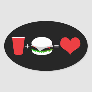 beer + hamburger = love oval sticker